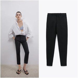 ZARA BLACK DOUBLE FACED CHINO FIT TROUSERS